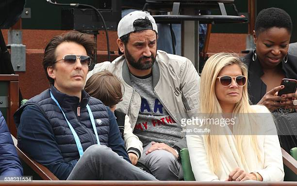Yannick Bollore his wife Chloe Bollore above them Cyril Hanouna attend the women's final on day 14 of the 2016 French Open held at RolandGarros...