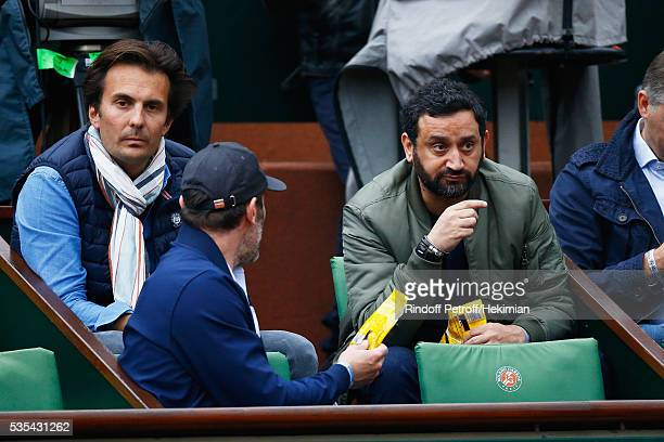 Yannick Bollore Jalil Lespert and Cyril Hanouna attend the French Tennis Open Day 8 at Roland Garros on May 29 2016 in Paris France