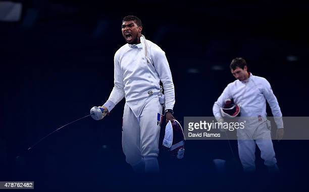 Yannick Borel of France celebrates during the Men's Fencing Team Epee Final on day fifteen of the Baku 2015 European Games at the Crystal Hall on...