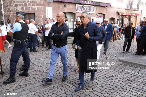 Yannick Bru and Philippe Tayeb are seen at the burial of Pierre Camou in Saint Jean Pied de Port during the Funeral of former rugby player Pierre...
