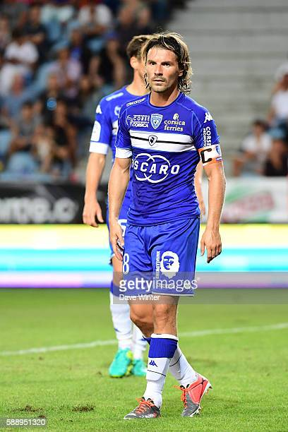 Yannick Cahuzac of Bastia during the football Ligue 1 match between SC Bastia and Paris Saint Germain at Stade Armand Cesari on August 12 2016 in...