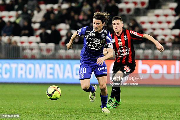 Yannick Cahuzac of FC Bastia and Remi Walter of OGC Nice during the French Ligue 1 match between OGC Nice v SC Bastia at Stade Municipal du Ray on...