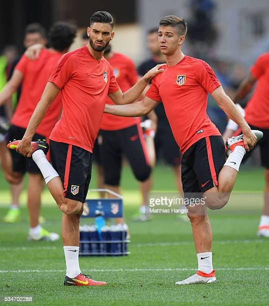 Yannick Carrasco and Luciano Vietto of Atletico Madrid during an Atletico de Madrid training session on the eve of the UEFA Champions League Final...