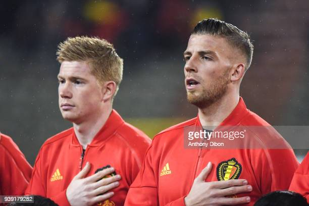 Yannick Carrasco and Toby Alderweireld of Belgium during the International friendly match between Belgium and Saudi Arabia on March 27 2018 in...