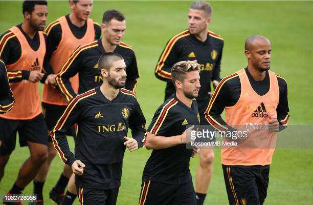 Yannick Carrasco Dries Mertens and Vincent Kompany during a Belgium training session at the Belgian National Football Center on September 6 2018 in...