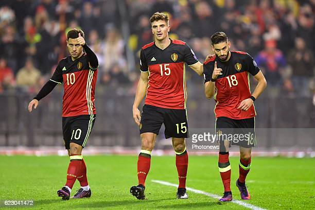 Yannick Carrasco forward of Belgium celebrates scoring a goal with teammates Thomas Meunier defender of Belgium an Eden Hazard midfielder of Belgium...