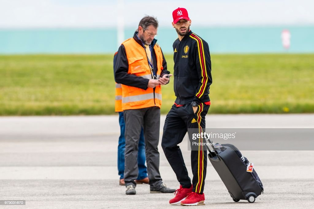 Yannick Carrasco forward of Belgium during the departure of the National Football Team of Belgium to the FIFA 2018 World Cup Football in Russia at Zaventem Airport on June 13, 2018 in Brussels, Belgium,
