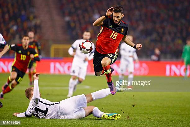 Yannick Carrasco forward of Belgium during the World Cup Qualifier Group H match between Belgium and Estonia at the King Baudouin Stadium on November...