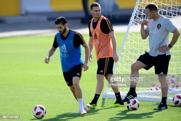 Yannick Carrasco forward of Belgium Thomas Vermaelen defender of Belgium and Graeme Jones ass coach of Belgian Team pictured during a training...
