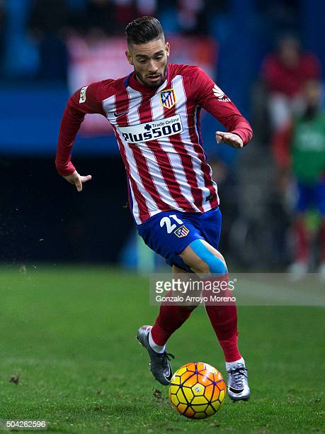Yannick Carrasco of Atletico de Madrid controls the ball during the La Liga match between Club Atletico de Madrid and Levante UD at Vicente Calderon...
