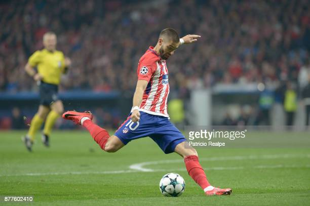 Yannick Carrasco of Atletico de Madrid kicks the ball during a match between Atletico Madrid and AS Roma as part of the UEFA Champions League at...
