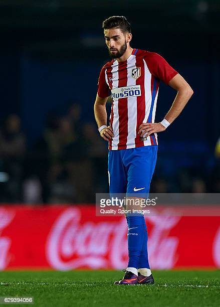 Yannick Carrasco of Atletico de Madrid reacts during the La Liga match between Villarreal CF and Atletico de Madrid at El Madrigal on December 12...