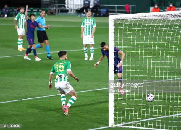 Yannick Carrasco of Atletico de Madrid scores their side's first goal during the La Liga Santander match between Real Betis and Atletico de Madrid at...