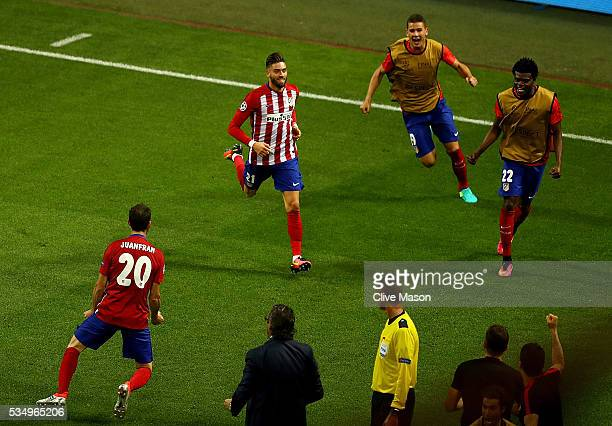 Yannick Carrasco of Atletico Madrid celebrates afte scorig the equalizing goal during the UEFA Champions League Final match between Real Madrid and...