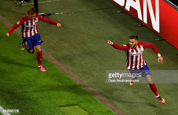 Yannick Carrasco of Atletico Madrid celebrates after scoring the equalising goal during the UEFA Champions League Final match between Real Madrid and...