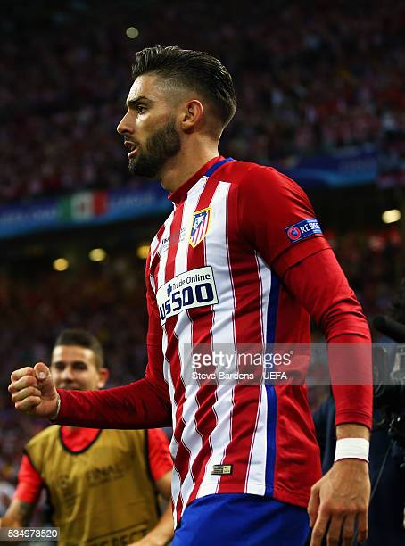 Yannick Carrasco of Atletico Madrid celebrates scoring his team's first goal during the UEFA Champions League Final between Real Madrid and Club...