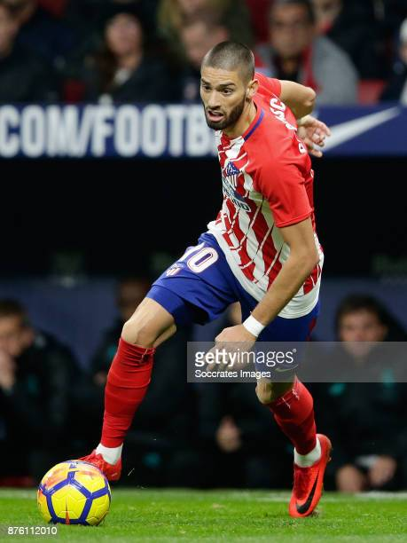 Yannick Carrasco of Atletico Madrid during the Spanish Primera Division match between Atletico Madrid v Real Madrid at the Estadio Wanda...