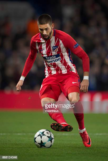 Yannick Carrasco of Atletico Madrid in action during the UEFA Champions League group C match between Chelsea FC and Atletico Madrid at Stamford...