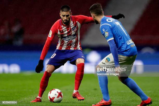 Yannick Carrasco of Atletico Madrid Javi Lopez of Lleida during the Spanish Copa del Rey match between Atletico Madrid v Lleida on January 9 2018