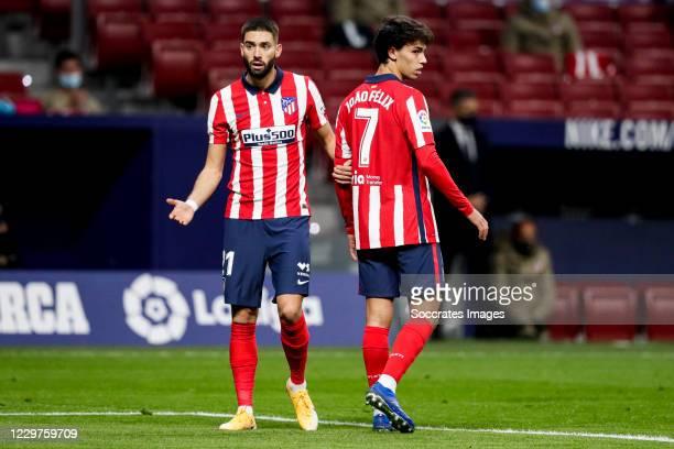 Yannick Carrasco of Atletico Madrid Joao Felix of Atletico Madrid during the La Liga Santander match between Atletico Madrid v FC Barcelona at the...