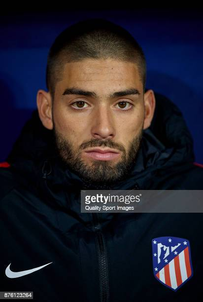 Yannick Carrasco of Atletico Madrid looks on prior the La Liga match between Atletico Madrid and Real Madrid at Wanda Metropolitano Stadium on...