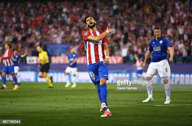 Yannick Carrasco of Atletico Madrid reacts during the UEFA Champions League Quarter Final first leg match between Club Atletico de Madrid and...