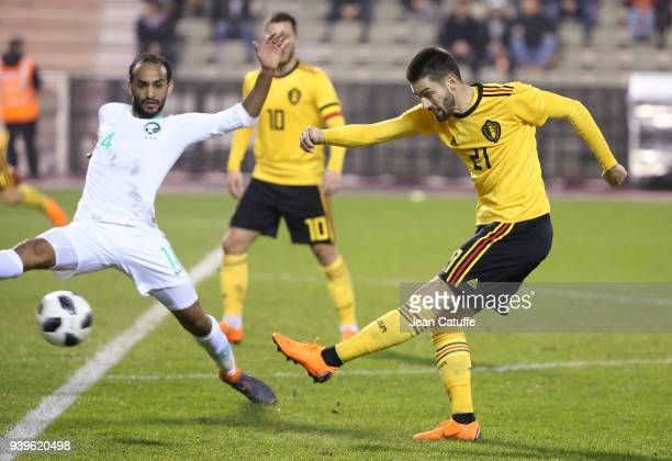 Yannick Carrasco of Belgium Abdullah Otayf of Saudi Arabia during the international friendly match between Belgium and Saudi Arabia on March 27 2018...