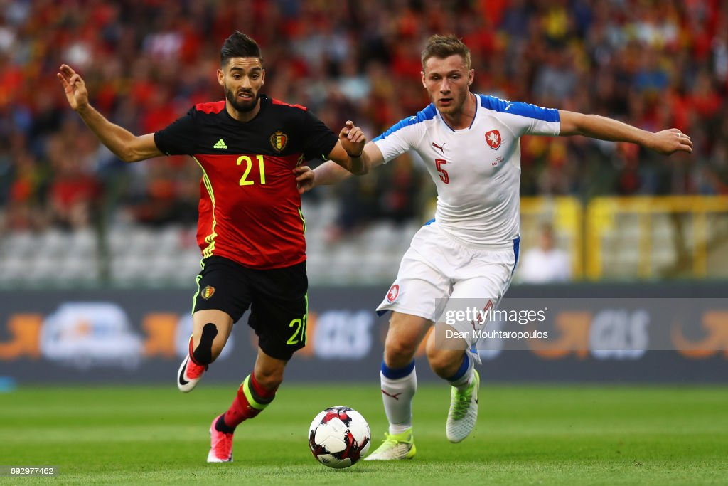 Yannick Carrasco of Belgium battles for the ball with Jakub Brabec of the Czech Republic during the International Friendly match between Belgium and Czech Republic at Stade Roi Baudouis on June 5, 2017 in Brussels, Belgium.