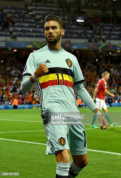 Yannick Carrasco of Belgium celebrates scoring his team's fourth goal during the UEFA EURO 2016 round of 16 match between Hungary and Belgium at...