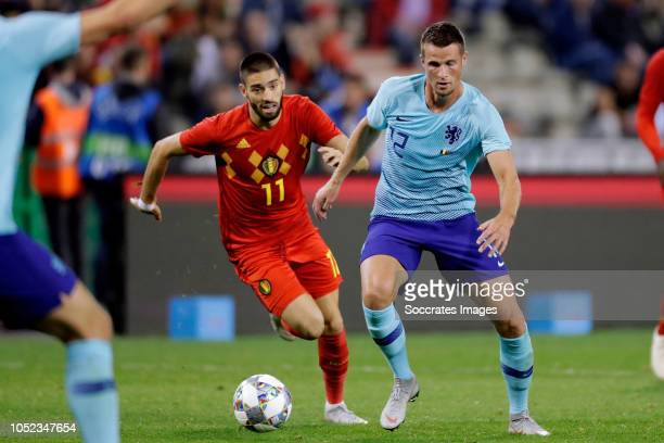 Yannick Carrasco of Belgium Hans Hateboer of Holland during the International Friendly match between Belgium v Holland on October 16 2018