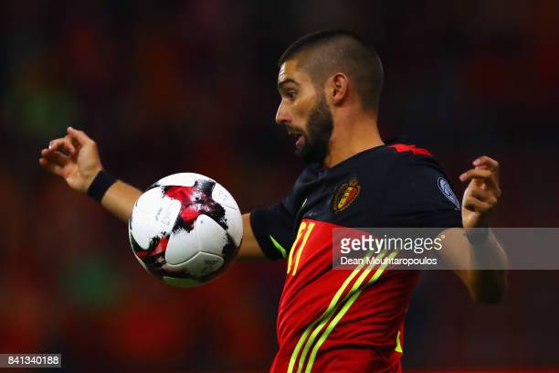 Yannick Carrasco of Belgium in action during the FIFA 2018 World Cup Qualifier between Belgium and Gibraltar at Stade Maurice Dufrasne on August 31...