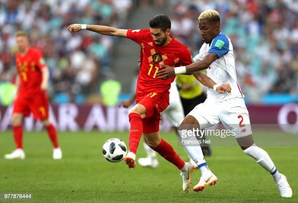 Yannick Carrasco of Belgium is fouled by Michael Murillo of Panama during the 2018 FIFA World Cup Russia group G match between Belgium and Panama at...