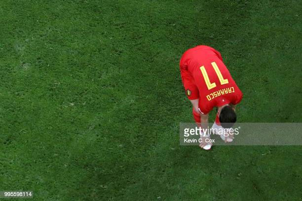 Yannick Carrasco of Belgium looks dejected following their sides defeat in the 2018 FIFA World Cup Russia Semi Final match between Belgium and France...