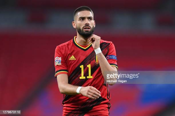 Yannick Carrasco of Belgium looks on during the UEFA Nations League group stage match between England and Belgium at Wembley Stadium on October 11,...