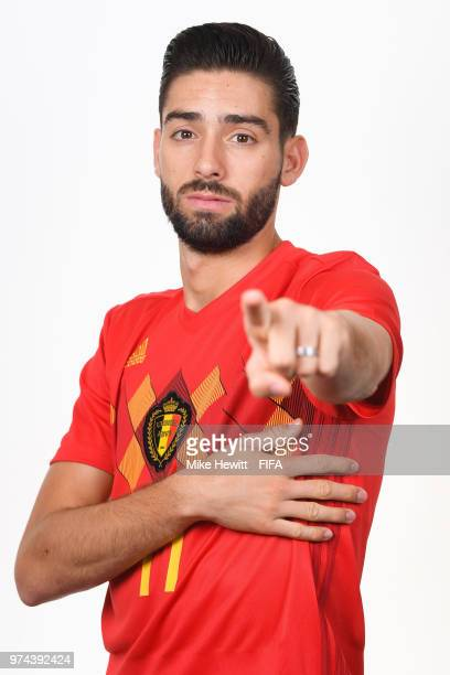 Yannick Carrasco of Belgium poses for a portrait during the official FIFA World Cup 2018 portrait session at the Moscow Country Club on June 14 2018...