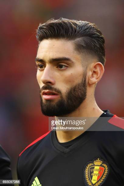 Yannick Carrasco of Belgium stands for the national anthem prior to the International Friendly match between Belgium and Czech Republic at Stade Roi...