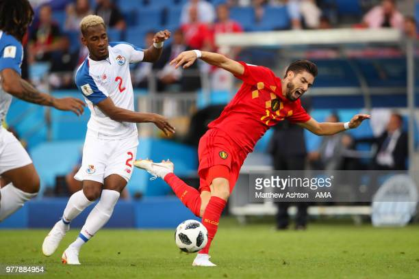 Yannick Carrasco of Belgium vies for possession with Michael Murillo of Panama during the 2018 FIFA World Cup Russia group G match between Belgium...