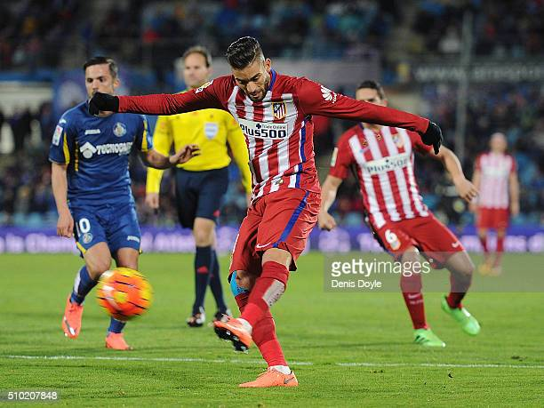 Yannick Carrasco of Club Atletico de Madrid has a shot at goal during the La Liga match between Getafe CF and Club Atletico de Madrid at Coliseum...