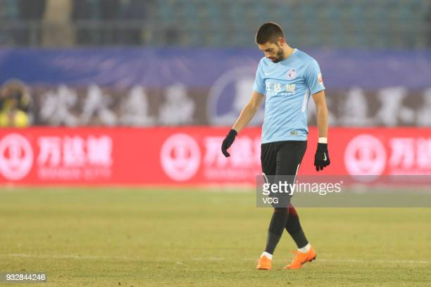 Yannick Carrasco of Dalian Yifang in action during the 2018 Chinese Football Association Super League third round match between Dalian Yifang and...