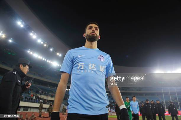 Yannick Carrasco of Dalian Yifang reacts after losing the 2018 Chinese Football Association Super League third round match between Dalian Yifang and...