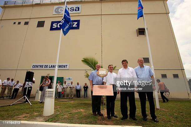 Yannick d'EscathaPresident of space french agency CNES with Vladimir Popovkin head of Russian space agency Roscosmos JeanYvec Le Gall chairman and...