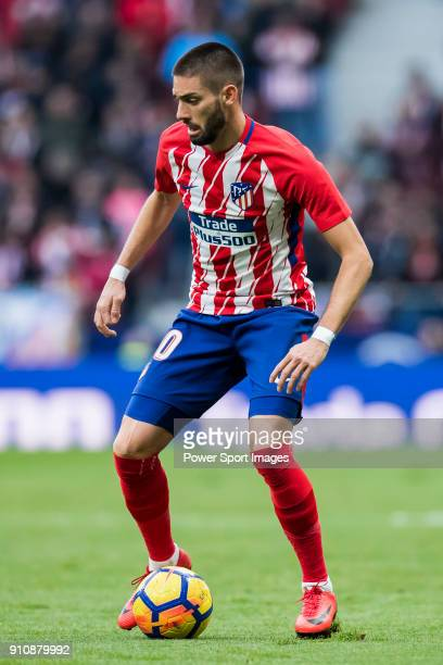 Yannick Ferreira Carrasco of Atletico de Madrid in action during the La Liga 201718 match between Atletico de Madrid and Girona FC at Wanda...