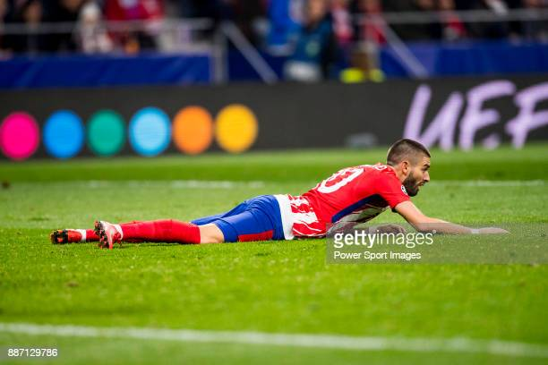 Yannick Ferreira Carrasco of Atletico de Madrid lie on the ground during the UEFA Champions League 201718 match between Atletico de Madrid and AS...
