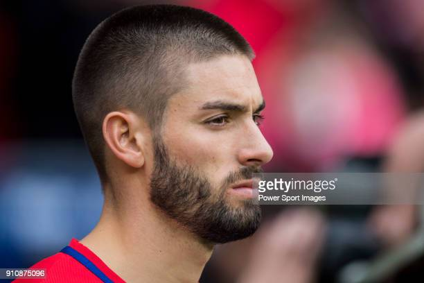 Yannick Ferreira Carrasco of Atletico de Madrid looks on prior to the La Liga 201718 match between Atletico de Madrid and Girona FC at Wanda...