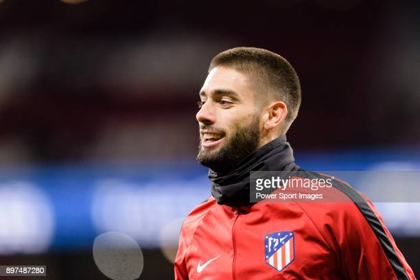 Yannick Ferreira Carrasco of Atletico de Madrid warming up during the La Liga 201718 match between Atletico de Madrid and Deportivo Alaves at Wanda...