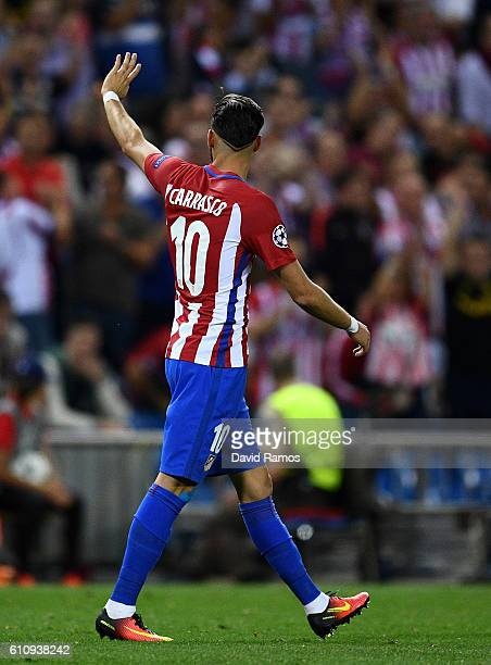 Yannick Ferreira Carrasco of Atletico Madrid celebrates after scoring the opening goal during the UEFA Champions League group D match between Club...