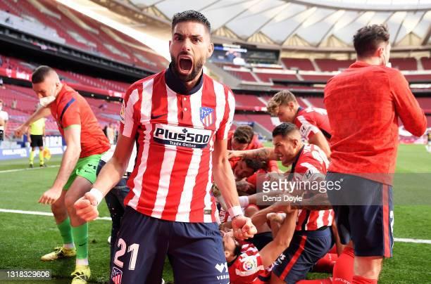 Yannick Ferreira Carrasco of Atletico Madrid celebrates Atletico de Madrid's second goal scored by Luis Suarez during the La Liga Santander match...