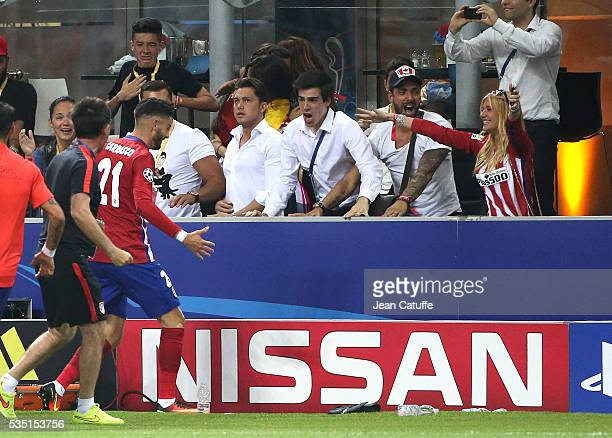 Yannick Ferreira Carrasco of Atletico Madrid celebrates his goal in front of his girlfriend Noemie Happart during the UEFA Champions League final...