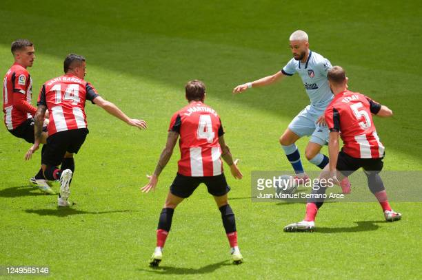 Yannick Ferreira Carrasco of Atletico Madrid takes on the Athletic Club defence during the Liga match between Athletic Club and Club Atletico de...