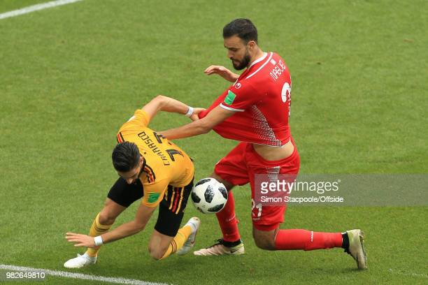 Yannick Ferreira Carrasco of Belgium battles with Hamdi Nagguez of Tunisia during the 2018 FIFA World Cup Russia Group G match between Belgium and...
